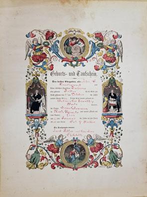 Fraktur Taufschein: Baptismal Certificate for Levi Krauthammel (MM2019.06.001)