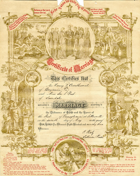 Marriage certificate for Harvey R. Crouthamel and Sue S. Yost